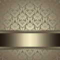 Vintage background card with a border on seamless damask wallpaper ornate floral seamless pattern with gold Stock Images