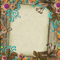 Vintage background with card and flowers Stock Photography