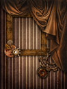 Vintage background with a curtain and frame Royalty Free Stock Photos