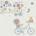 Vintage background with cute bicycle birds cat and flowers Royalty Free Stock Photo