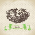 Vintage background with easter eggs and nest hand drawn illustr illustration Royalty Free Stock Images