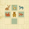 Vintage background with forest animals colorful cards Stock Photo