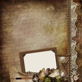 Vintage background with frame, faded roses, hourglass and retro decor Stock Photo