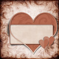 Vintage background with frame and  heart Stock Photo