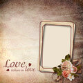 Vintage background with frame and roses Stock Photo