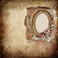 Vintage background with frame and roses a place for text or photo Stock Photos