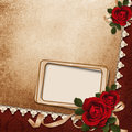 Vintage background with frame roses and ribbons Stock Photography