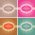 Vintage background frame template in color variations vector Royalty Free Stock Photo