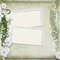 Vintage background with frame and white flowers Royalty Free Stock Photo