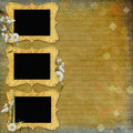 Vintage Background with frames and flowers Stock Images