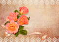Vintage background with frames and roses bouquet of ribbon on Royalty Free Stock Photo