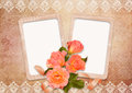 Vintage background with frames and roses old frame a bouquet of on a Stock Photos