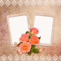 Vintage background with frames and roses old frame a bouquet of on a Stock Image