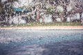 Vintage background with freezed water drops after splashing in swimming pool on water surface during rain with blurred backg Royalty Free Stock Photo