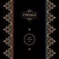 Vintage background with gold decorative elements on black Stock Images