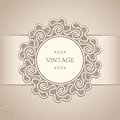 Vintage background lace label ornamental label over seamless beige pattern Stock Photography
