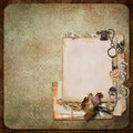 Vintage background with old frames, letters and cards Stock Images