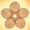 Vintage background with ornate doodle flower beige Royalty Free Stock Images