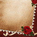 Vintage background with roses lace and ribbon a place for text or photo Royalty Free Stock Photos