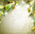Vintage background scrap with abstract leaves Royalty Free Stock Photo