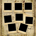 Vintage background with stack of old polaroid frame shabby photo album and the space for text or photo Royalty Free Stock Photo