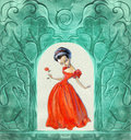 Vintage background with stone carvings mixed media and princess Royalty Free Stock Photos