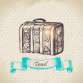 Vintage background with travel suitcase hand drawn illustration Royalty Free Stock Photography