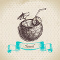 Vintage background with tropic coconut cocktail hand drawn illustration Stock Photo