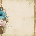 Vintage background with turquoise flowers and heart beautiful space for notes photos Stock Photography
