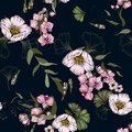 Vintage background. Wallpaper. Hand drawn. Vector illustration. Paradise flowers. Realistic seamless flower pattern