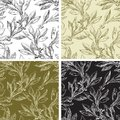 Vintage backgrounds vector ornate seamless patterns with laurel leaves on color Royalty Free Stock Images
