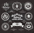 Vintage bakery frames set of retro labels on the chalkboard Royalty Free Stock Image