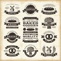 Vintage bakery labels set a of fully editable in woodcut style eps vector illustration Stock Photo