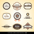 Vintage bakery logo labels and frames vector set of design Royalty Free Stock Photo