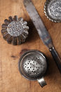 Vintage  Baking utensils - sifter, spatula, tins and moulds Royalty Free Stock Photo