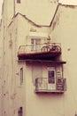 Vintage balconies in beautiful houses lviv Royalty Free Stock Photo