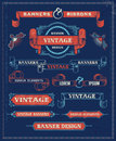 Vintage banner and ribbon design elements banners hand drawn retro vector background with removable textures Royalty Free Stock Image