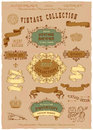 Vintage banners and labels set with decorative elements Stock Photo