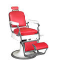 Vintage barber chair isolated with red upholstery on white Stock Photography
