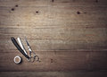 Vintage barber equipment on wood desk Royalty Free Stock Photo