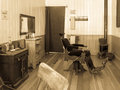 Vintage barber shop preserved in old california mining town Royalty Free Stock Image