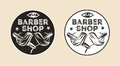 Vintage barber shop vector emblem, badge, sign, sticker layout. Two color variants