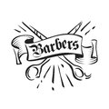 Vintage barbers vector emblem, badge, sign, sticker layout. Scissors and ribbon ink illustration Royalty Free Stock Photo