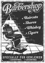 Vintage barbershop poster with barber chair