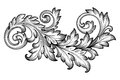 Vintage baroque foliage floral scroll ornament vector frame engraving border retro pattern antique style acanthus swirl decorative Stock Photos