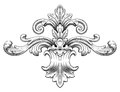 Vintage baroque frame scroll ornament vector Royalty Free Stock Photo