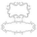 Vintage baroque frame set scroll ornament vector