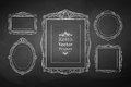 Vintage baroque frames vector collection of chalked Stock Image