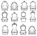 Vintage Baroque luxury style armchairs furniture set collection. French Luxury rich carved ornaments decoration. Vector