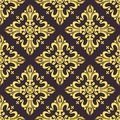 Vintage baroque ornament, damask floral luxury seamless pattern, vector illustration. Gold oriental tracery on dark purple
